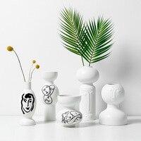 Portrait Vase Abstract Art Deco Flower Pot Simple Line Pattern Desk Decorative Ceramic Craft Jar Fauvism Style Face Vase Decor