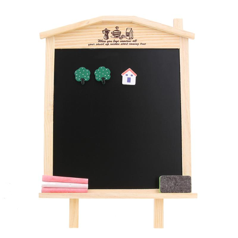36*17cm Office School Desk Message Wood Blackboard Chalkboard Kids Wooden Writing Drawing Black Board With Chalk Magnetic Nail