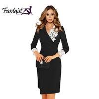 Fantaist Odwołanie Spadek Hurtowych kobiet Sukienka Wrap V-neck Lace Vintage Urząd Pracy Nosić Trzy Czwarte Rękaw Płaszcza Czarne Sukienki