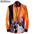 Alexnamgyal hombres camisa camisa de los hombres de esmoquin de lujo para hombre de la moda camisa masculina camisas de marca de manga larga del mono de impresión de orange al105
