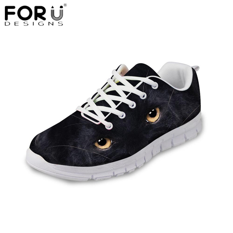 FORUDESIGNS Black Animal Big Eyes Print Women Casual Flats Girls Ladies Comfortable Mesh Sneakers Light Lace Up Flat Shoes Mujer forudesigns cute animal dog cat printing air mesh flat shoes for women ladies summer casual light denim shoes female girls flats
