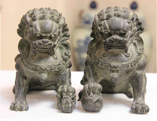 Limit the Quantity!!!Collect 1 Pair (2 item) Chinese Home FengShui Old Bronze Lion Foo Fu Dog Statue/Sculpture High:16CM /item