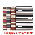New Fashion Auto Wake/Sleep Classic leather case For Apple ipad Pro case 12.9 stripe pattern stand book cover for ipad pro cover