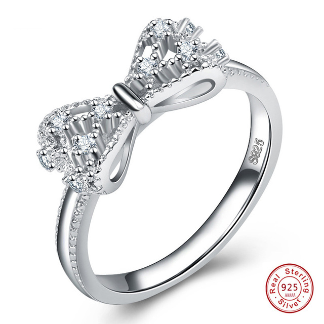 Bow Cubic Zirconia Anniversary Wedding Ring For Women solid 925 Sterling-Silver-