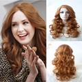 Top Quality Natural Light Brown Long Wavy  Synthetic Lace Front Wigs Heat Resistant Fiber Hair For Women Free Shipping