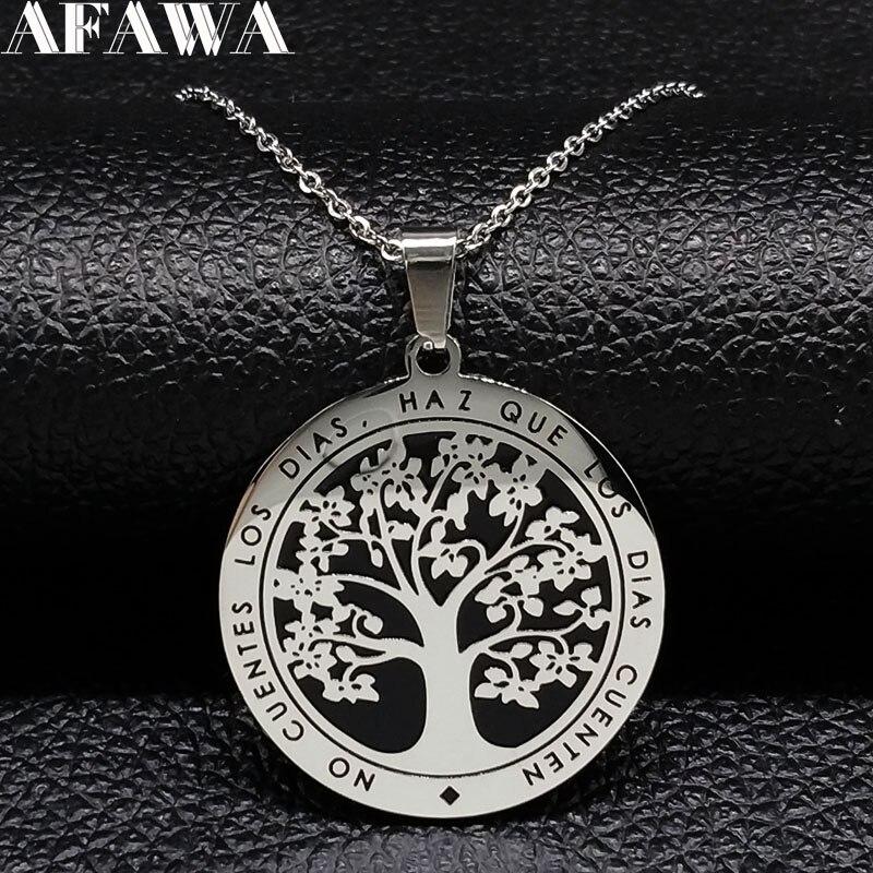 Женская цепочка «Древо жизни» из нержавеющей стали, ожерелье серебряного цвета с черной эмалью, подвески, ювелирные изделия|Ожерелья с подвеской|   | АлиЭкспресс