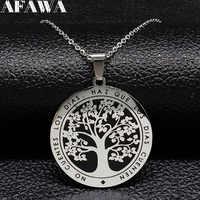 Collar de cadena de acero inoxidable Árbol de la vida collares de Color plata esmalte negro para mujer colgante de joyería colgante arbol de la vida