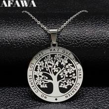 Tree of Life Stainless Steel Chain Necklace Women Black Enamel Silver Color Necklaces Pendants Jewelry colgante arbol de la vida цена в Москве и Питере