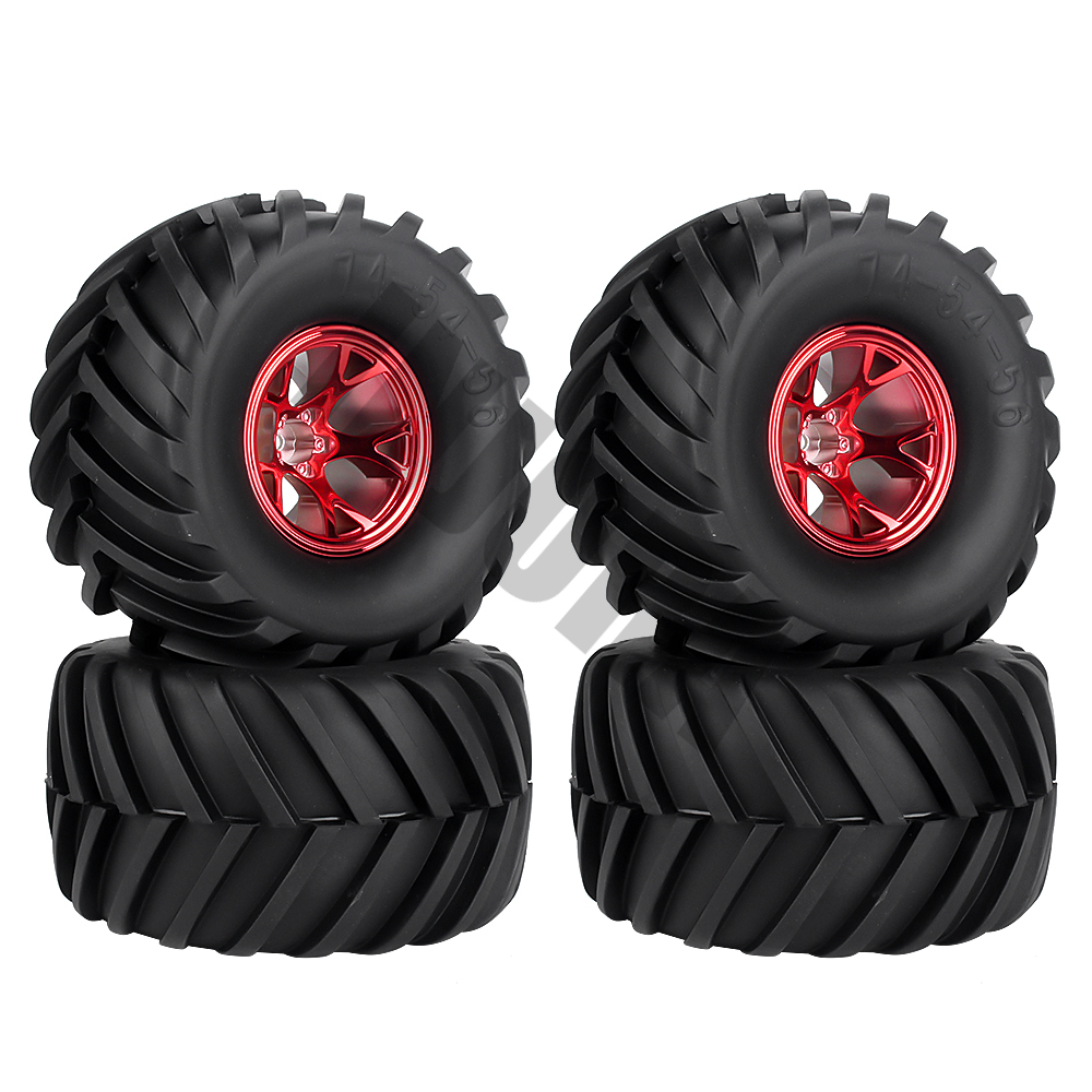 Image 2 - 4Pcs Wheel Rim Tire Set for 1/10 RC Monster Truck Traxxas HIMOTO HSP HPI Remote Control RC Truggy Car-in Parts & Accessories from Toys & Hobbies