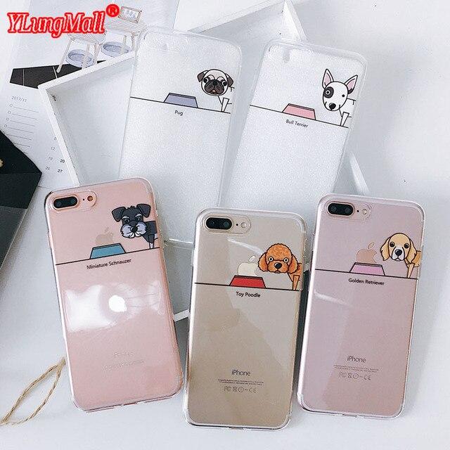 Bonito Pug Cão Bull Terrier Brinquedo Poodle Padrão Xs Coque Silicone Soft Case para o iphone para o iphone X 6 8 7 6 s Plus Capa capa