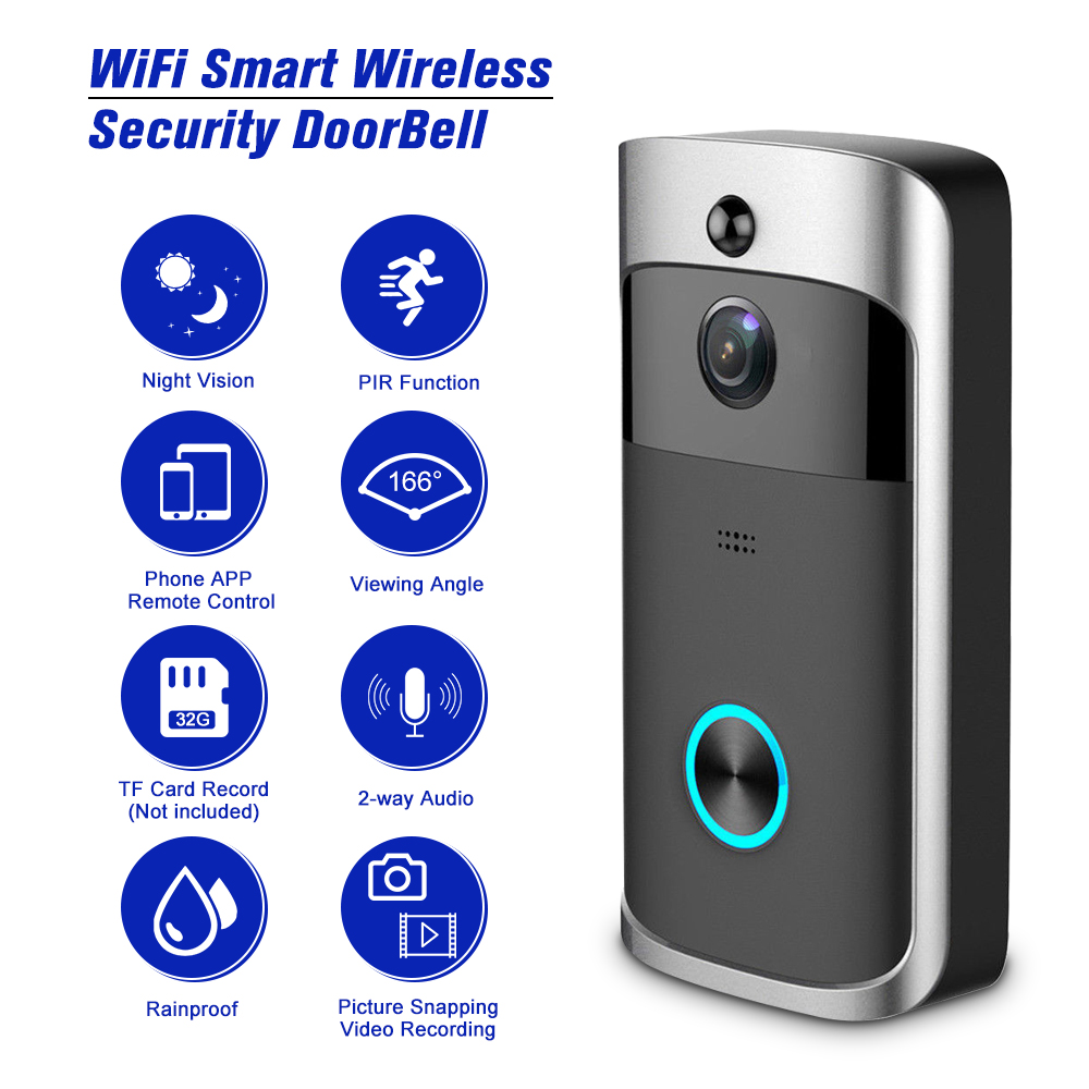 Smart Wireless WiFi Security Eye Door Bell Visual Recording Remote Home Monitor Night Vision Video Intercom
