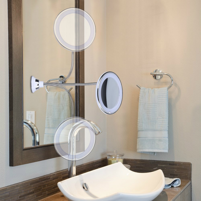 Flexible Rotating Vanity Magnifying Mirror Light Vanity Lights