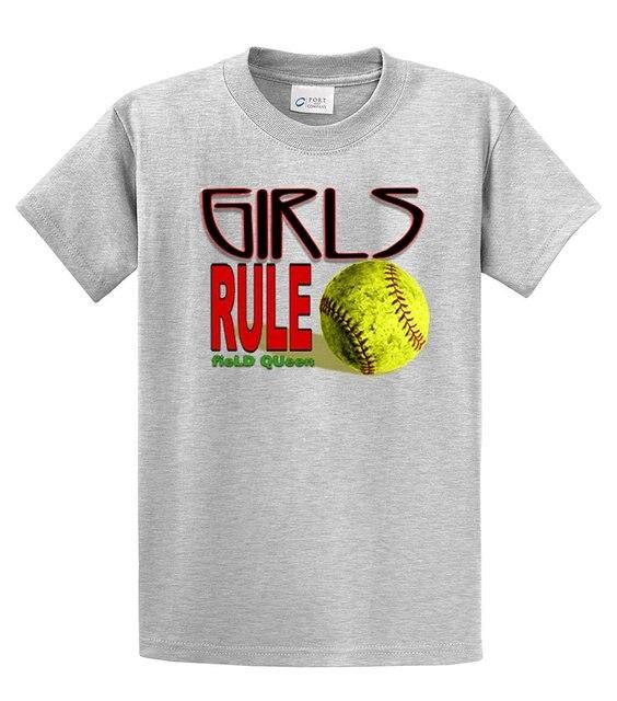 Softball T-Shirt Girls Rule Field Queen Tee Shirts Short Sleeve Tops