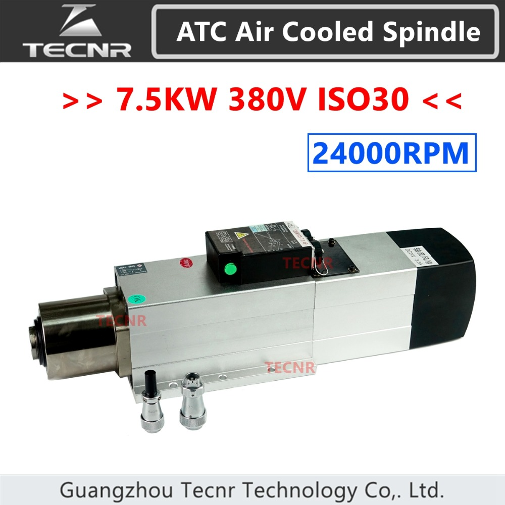 TECNR Automatic Tool Change spindle 7.5KW 380V ATC air cooled spindle motor ISO30 24000RPM for woodworking cnc router GDZ120*103 9kw 24000rpm 380v 220v long head iso30 atc air cooled automatic tool change spindle
