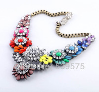 New Design Box Chains Maquise Stone Vintage Flower Chunky Necklace