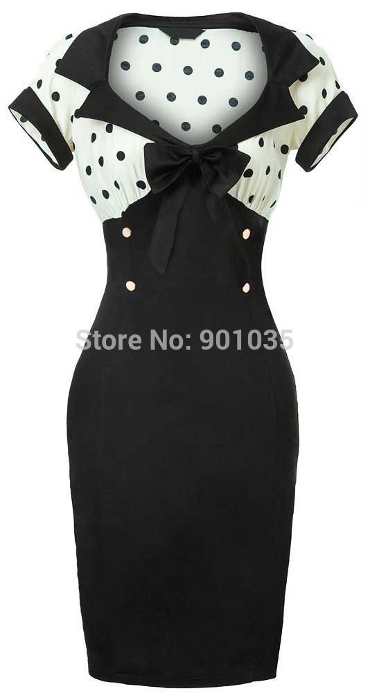 Free Shipping NEW VINTAGE CHIC 1950 S ROCKABILLY RETRO BLACK PENCIL WIGGLE PIN UP PARTY DRESS