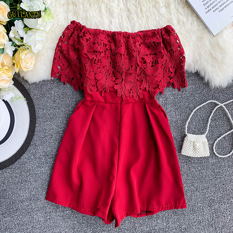 Women Summer Floral Lace Shorts Jumpsuit Short Sleeve Party Playsuit