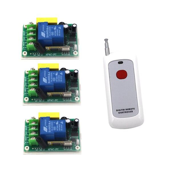 2 Working Ways RF Wireless Intelligent Remote Control Switch 1 Transmitter+3 Receiver AC220V 30A SKU: 5317 2 working ways rf wireless intelligent