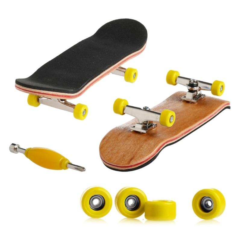 1 Набор деревянный скейтборд с коробкой, Детская колода, спортивная игра, подарок клен, новинка, пальчиковая игрушка для взрослых детей, 6 цветов - Цвет: Цвет: желтый