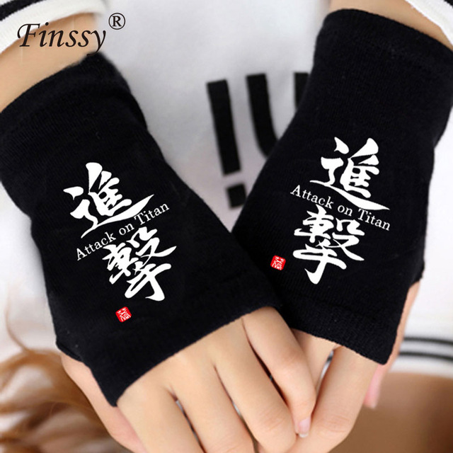 Winter Warm Half Finger Gloves Attack on Titan Cosplay Knit Gloves very Intimate Gift for Friends