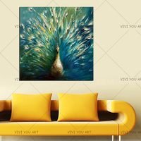 Artist Hand Painted Modern Wall Art Animal Peacock Oil Painting On Canvas Beautiful Peacock Spreads Tail Feathers Oil Painting