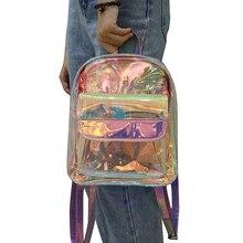 Women Girls Transparent  Backpack Clear PVC School Book Bag