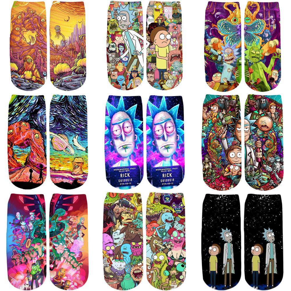 PLstar Cosmos 2019 New 3D Printed Cartoon Rick And Morty Cute Cotton Short Ankle Socks For Men Women Harajuku Korean Socks WZ022