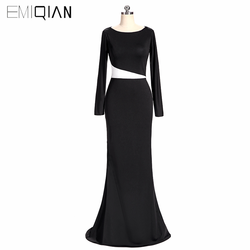 White And Black Formal Dubai Kaftan Elegant Long Sleeve Mermaid Evening Dresses Party Evening Gowns robe de soiree