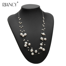 Fashion Freshwater Multilayer pearl necklace women natural choker bride jewelry white wedding gift