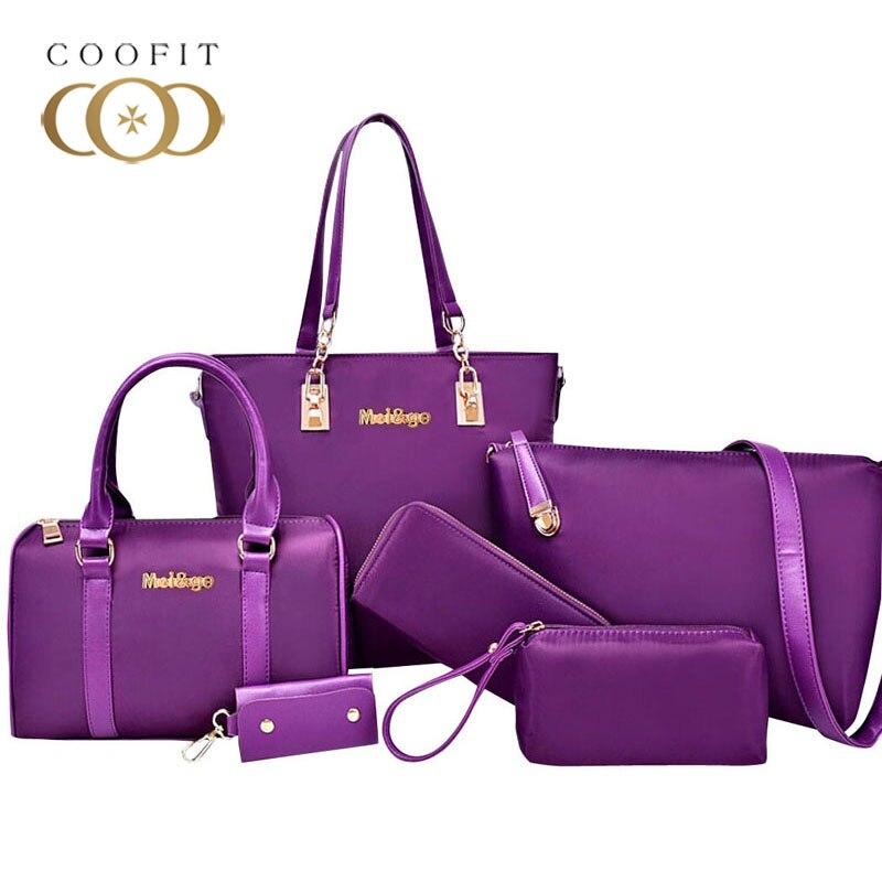 Coofit Composite Bag 6 Piece sets Womens Waterproof Nylon Tote Bag Luxury Handbag Large Capacity Tote Bag For Women Clutch Purse coofit luxury composite bag set women