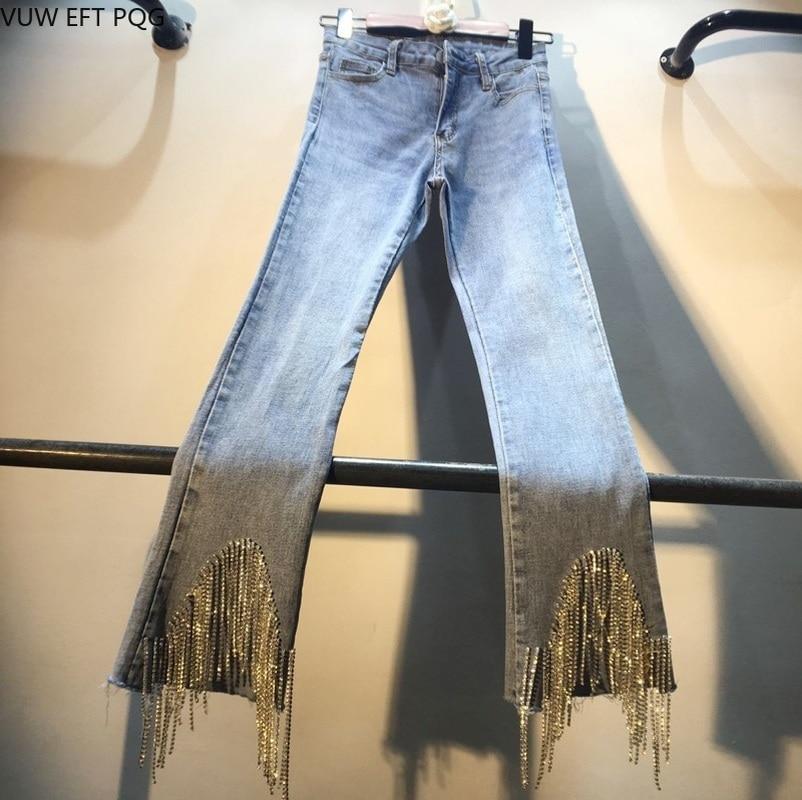 jean woman Girl jeans pants Fashion jeans for women with high waist Tassel ,Beaded,Diamond ladies jeans denim