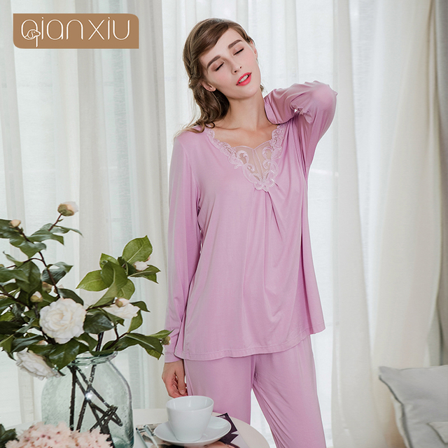 2019 Spring Brand Homewear Women Sexy Lace pajama sets Female V-neck collar  t shirt + pants Ladies Bamboo Fiber sleepwear suit d1adf76f7