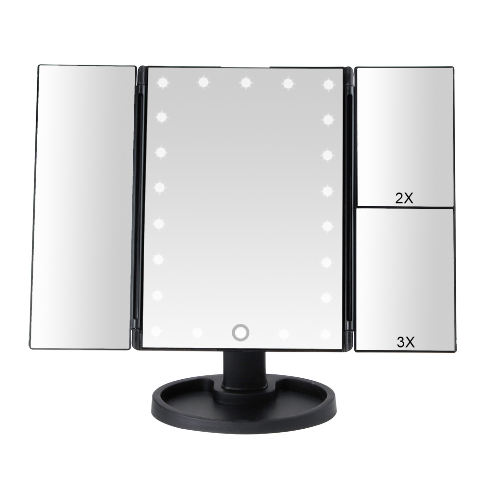 22 LED Light Touch Screen Makeup Mirror 1X/2X/3X/10X Magnifying Glass 3 Folding Vanity Compact Mirror Flexible Cosmetics Mirrors