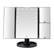 22 LED lumière écran tactile maquillage miroir 1X/2X/3X/10X loupe 3 pliant vanité compacte miroir Flexible cosmétiques miroirs