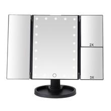 22 led light touch screen espelho de maquiagem 1x/2x/3x/10x lupa 3 dobrável vaidade espelho compacto espelhos cosméticos flexíveis