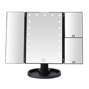 Image 1 - 22 luz LED pantalla táctil espejo de maquillaje 1X/2X/3X/10X lupa 3 plegable vanidad espejo compacto Flexible espejos cosméticos