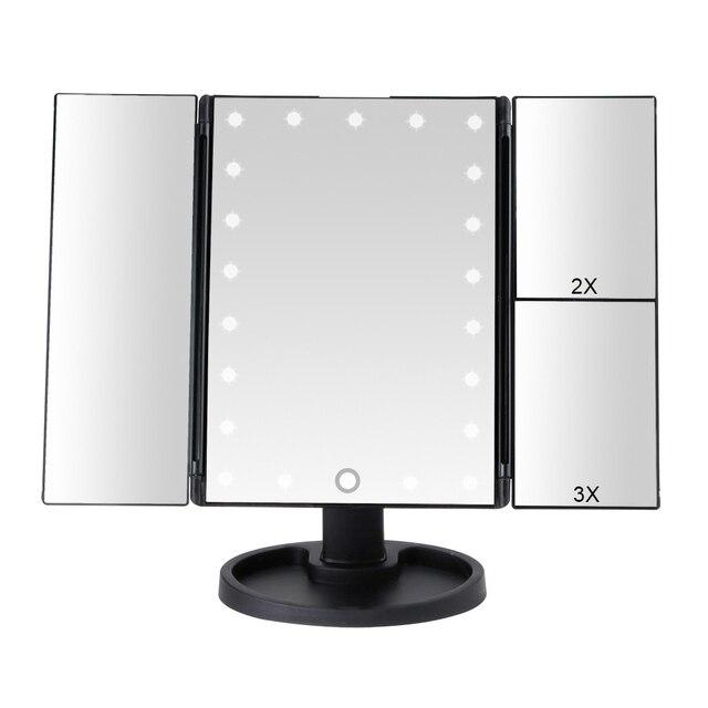 22 luz LED pantalla táctil espejo de maquillaje 1X/2X/3X/10X lupa 3 plegable vanidad espejo compacto Flexible espejos cosméticos