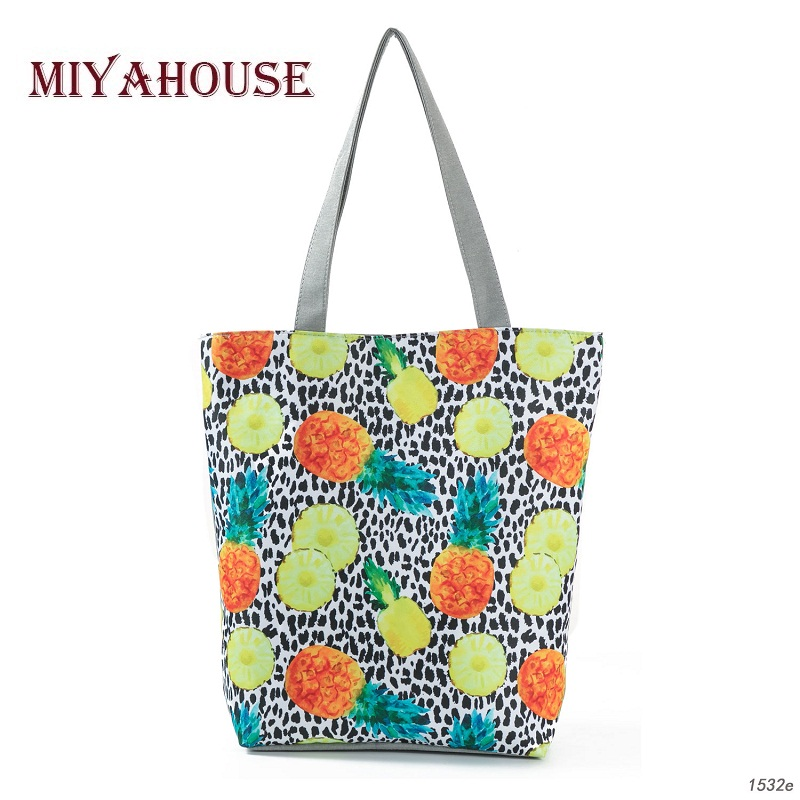 Sale Colorful Pineapple Design Shoulder Bags Female Summer Beach Bags Leopard Printing Canvas Tote Handbag