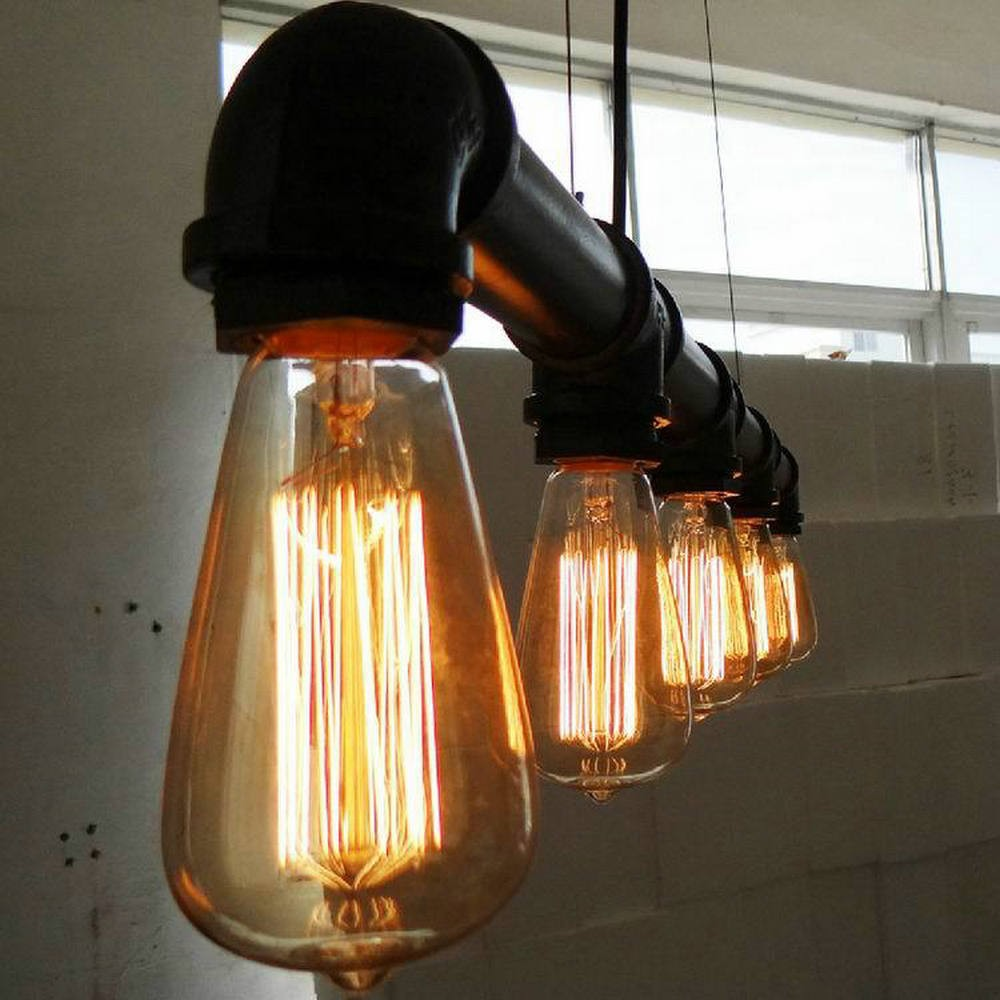 Free shipping Vintage Pendant Lights Metal Water Pipe Lamp Steampunk Lamps E27 Bulbs Pendant Lamp Warehouse Bar Lighting Counter vintage pendant lights retro water pipe pendant lamp e27 holder edison bulbs lighting fixture for warehouse diningroom ktv bar