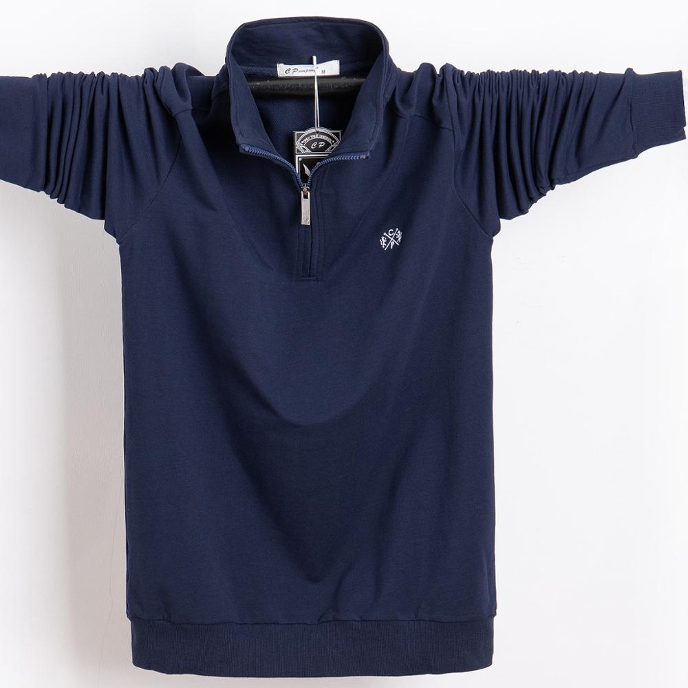 Men   Polo   Shirt 2019 Pure Cotton Men Business Casual Male   Polo   Shirt Autumn Long Sleeve Stand Collar   Polo   Shirt Plus Size 5XL 6XL