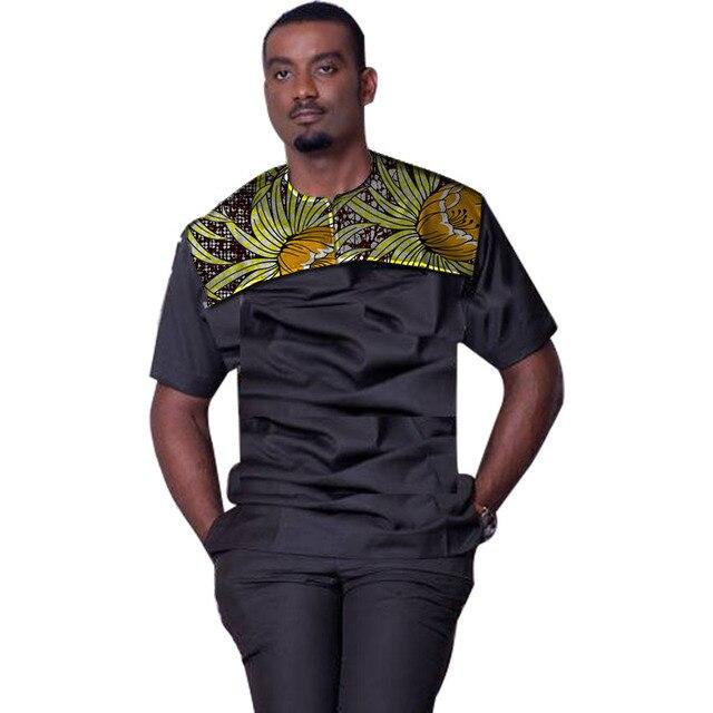 e4c079a6dcc Chemise africaine hommes col rond manches courtes chemises imprimé  Patchwork été dashiki hauts traditionnel Ankara couleur
