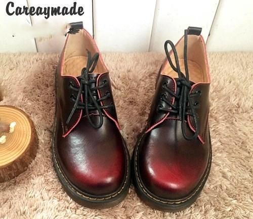 Careaymade-Genuine Leather pure handmade shoes, the retro art mori girl Brush color shoes,Women's casual Flats,soft surface huifengazurrcs new pure handmade casual