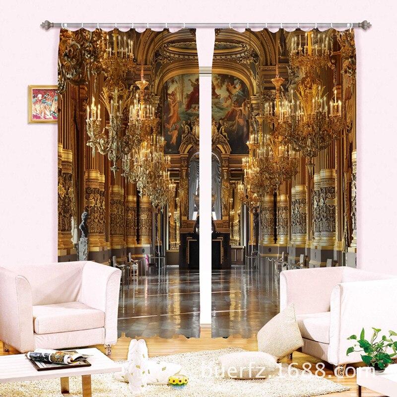 De luxe Palais 3D Blackout Fenêtre Rideaux Pour salon Literie chambre Rideaux Cotinas par sala De Noël Décoratif