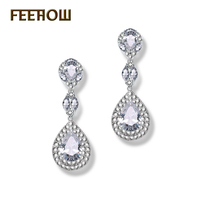 Four Color Choice White Gold Plated Vintage Queen Fancy Top Quality Swiss Cubic Zirconia Diamond Dangling