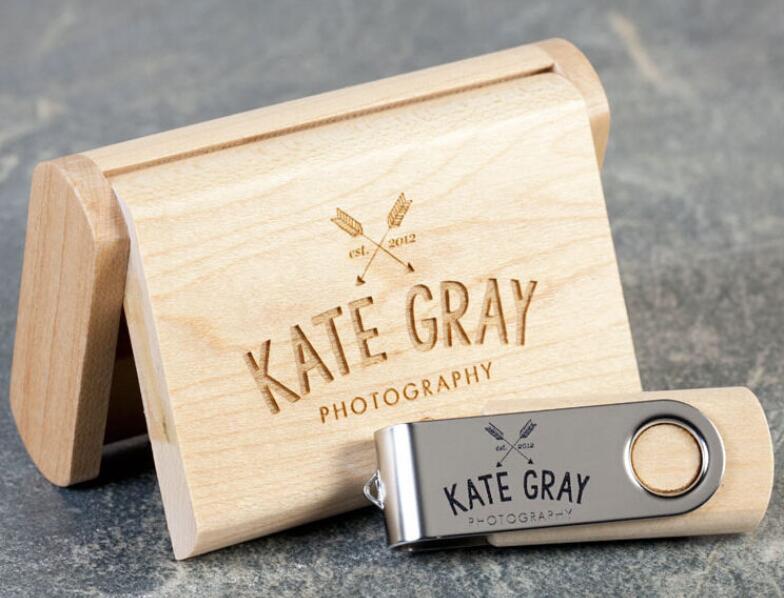 ODM OEM Custom Wedding Photography Encord LOGO Wooden Clip + Box USB 2.0 Version Memory Flash Stick Pen Drive