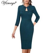 11d4f3a2c339 Vfemage Womens Elegant Keyhole Cutout Front Pockets Lapel Celebrity Slim  Work Dress