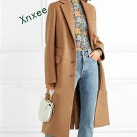 Xnxee Women Winter Coat 2019 Elegant Wool Warm Long Coat Korean Style Fashion Office Camel Coat