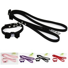 (1 collar +1  leashes) Lovely  Bow Ornaments Pink Red Purple Black Velvet Leather Pet Dog collar Leashes set