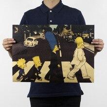 Симпсоны крест улица Винтаж крафт-бумага классический фильм плакат карта дома стены гаража украшения художественные принты в стиле ретро