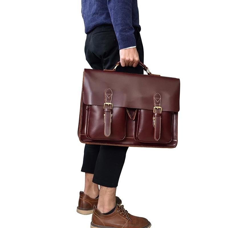 "HTB1rc0HvsyYBuNkSnfoq6AWgVXau Vintage Men's Genuine Leather briefcase 16"" Cowhide Business bag Cow leather Laptop Double Layer messenger bag PC work tote"